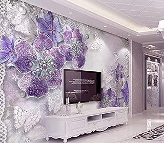 Murwall Floral Wallpaper Purple Swarovski Flower Wall Mural Diamond Butterfly Wall Print Classical Home Decor Cafe Design
