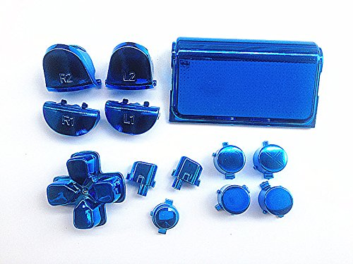 Blue Chrome Plating LR Buttons botones Mod Kits+Touch Pad for PS4 Controller DualShock 4
