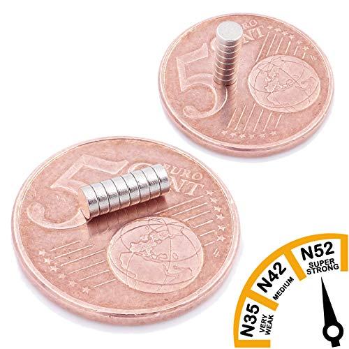 Brudazon | 40 mini schijfmagneten 3x1mm | N52 sterkste niveau - neodymium magneten ultrasterk | Power magneet voor modelbouw, foto, whiteboard, notitiebord, koelkast, knutselen | magnetische schijf extra sterk