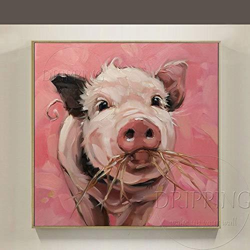 ZHUAIBA Al Óleo Pintada A Mano Decorativo Nueva llegada pintado a mano de alta calidad animal impresionista Piggy pintura al óleo pintura al óleo imagen divertida cerdo comiendo pintura al óleo 60x6