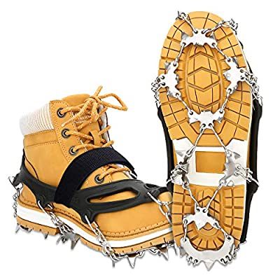 EIVOTOR?Upgraded 24 Spikes Walk Traction Ice Cleat Spikes Crampons,Ice Snow Grips for Footwear for Walking, Jogging, Climbing, Hiking on Snow and Ice?XL?