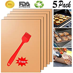 Customer reviews Cookey Upgraded Copper Grill Mat and Bake Mat Set of 5 Non Stick BBQ Grill & Baking Mats - Reusable, Easy to Clean - PTFE Teflon Fiber Grill Roast Sheets for Gas, Charcoal, Electric Grill For Grilling Meat, Veggies, Seafood (Copper)