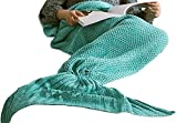 Hughapy Knitted Mermaid Tail Blanket for Adults Teens,Kids Crochet Snuggle Mermaid,All Seasons Seatail Sleeping Blanket (71'x35.5', Thin-Mint Green)