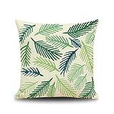 KnBoB Funda de Cojín Decorativa Tejido con Lino Hojas 50x50 cm Cuadrado Verde Decoración Interiores - Estilo 4