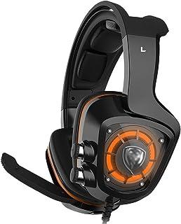 سماعات رأس بلاي ستيشن 4، سماعات فوق الاذن للألعاب مع ميكروفون LED خفيف لإلغاء الضوضاء والتحكم في مستوى الصوت للكمبيوتر الم...