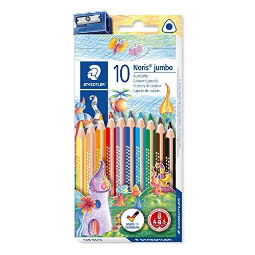 STAEDTLER Noris Club jumbo 128 NC10 Buntstifte, Set mit 10 brillanten Farben