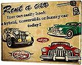 Cartel de aluminio, 20 x 30 cm, placa decorativa de metal, placa de metal con diseño de coche nostálgico, retro, rent a car