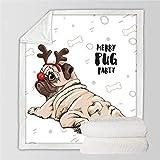 Cobija,Ropa De Cama Cálida Manta De Impresión 3D, Animal, Perro De Navidad, Esponjoso Suave Felpa Doble Tiro Manta, Sherpa Franela Felpa Manta Para Cubrir Sofá Cama,51.18×59.05 En(130×150 Cm)