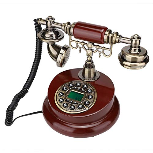 MS-6100B Teléfono con cable retro europeo con función de pausa y rellamada, cancelación de ruido, IP automática, para el hogar/oficina/sala de estar/dormitorio