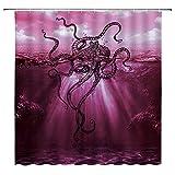 Oktopus Duschvorhang Ozean Kraken Monster Vintage Sea Octopus Tentakel Einzigartige Meerwasser Seewasser nautische Sonnenschein Lila Badezimmer Dekor Set mit Haken (177,8 cm WX70 H)