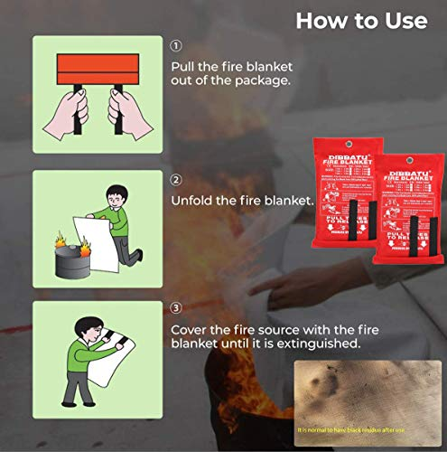 DIBBATU Fire Blanket Emergency for Kitchen, Suppression Flame Retardent Safety Blanket for Home, Schooll, Fireplace, Grill, Car, Office, Warehouse (2 Pack)