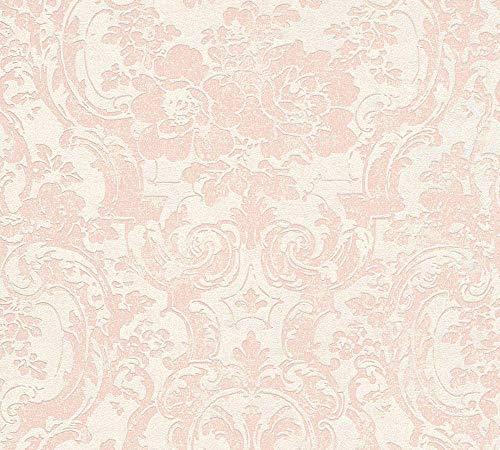 Livingwalls Vliestapete Moments Tapete mit Ornamenten barock 10,05 m x 0,53 m beige metallic rosa Made in Germany 328313 32831-3