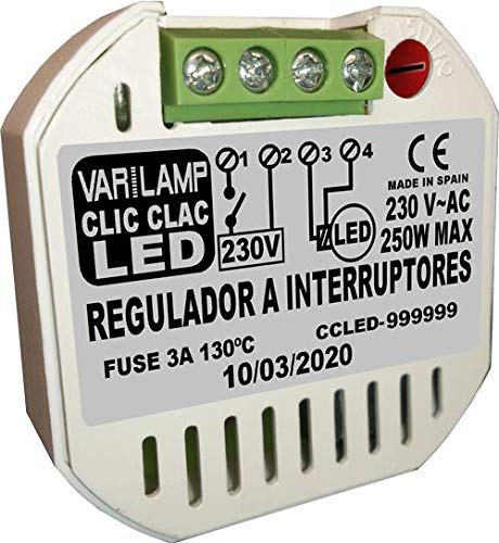 CLIC CLAC LED 250. Regulador UNIVERSAL a INTERRUPTORES para cualquier LED regulable (PATENTADO). 250W Max.