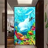 DIY 5D Diamond Painting Kits Large Delfines con Peces Tortuga Marina DIY Pintura de Diamante Kit Completo Taladro Diamante Art Bordado Punto de Cruz Home Salón Decor de Pared 50x100cm Round Drill