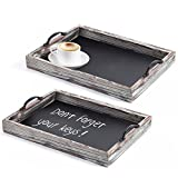 MyGift Nesting Torched Wood Multipurpose Serving Trays with Vintage Metal Handles & Chalkboard Surface, Decorative Ottoman/Breakfast Trays, Set of 2