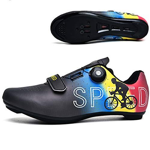 AGYE Calzado de Ciclismo de Carretera para Hombre,Zapatillas de Ciclismo para Interior SPD Compatibles con Tacos Transpirables con Hebilla Giratoria para Montar,Black-EU39