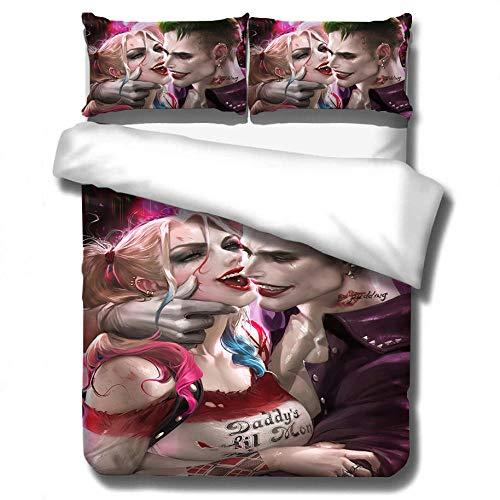 Returned home Suicide Squad Animation 3D-Bettwäscheset, großer Bettbezug und Kissenbezugbettwäsche, Heimtextilien für Teenager und Erwachsene-8_172 * 218 cm (3 Stück)