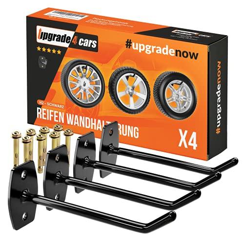 Upgrade4cars Reifen Wandhalterung Garage für 4 Felgen | Autoreifen Wandhaken bis zu 22 Zoll | Reifenhalter Haken Set | Edelstahl Reifenwandhalter Aufhängung Gummiert