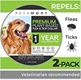 Flea Collar for Dogs, Tick Collar for Dogs, Flea and Tick Collar for Dogs, Dog Flea Collar, Unique Plant Based Formula, Small to Extra Large, 1 Year Protection, Stone Gray Color