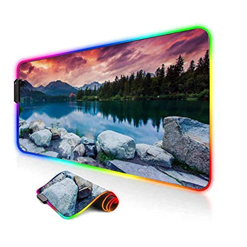 RGB Gaming Mouse Pad Mat,Lake Forest Mountains National Park Slovakia Europe Dramatic Overcrast Sky Idyllic Computer Keyboard Desk Mat,35.6'x15.7',for Game Players,Office,Study Multicolor