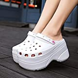 Zapatillas Casa Chanclas Sandalias Sandalias De Mujer Zapatos De Plataforma Zapatillas Sin Cordones para Damas Sandalias Gruesas De Playa Mujer-Blanco_6.5