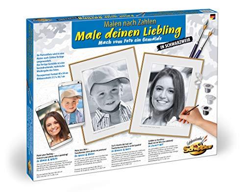 Schipper 602100371 - Malen nach Zahlen - Male deinen Liebling schwarz/weiß - Bilder malen für Erwachsene, inklusive Pinsel und Acrylfarben, 30 x 40 cm