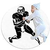 Tapis de jeu pour enfants au sol Joueur de rugby Tapis modernes doux ronds pour les décorations de salle de plancher 70x70cm
