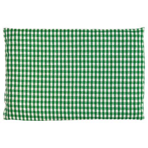 Kirschkernkissen 30 x 20 cm, grün-weiß - Als Wärmekissen & Kältekissen - Körnerkissen für Mikrowelle und Backofen (30x20cm)