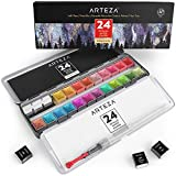 Arteza Metallic Watercolor Paints, Set of 24 Half Pans, Pearl Paint, Vibrant and Pearlescent Hues, Includes Storage Tin & Water Brush, Art Supplies for Illustrations, Calligraphy, Painting