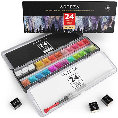 Arteza Metallic Watercolor Paints, Set of 24 Half Pans, Pearl Paint, Vibrant and Pearlescent Hues, Includes Storage Tin & Water Brush, for Illustrations, Calligraphy, Painting, More