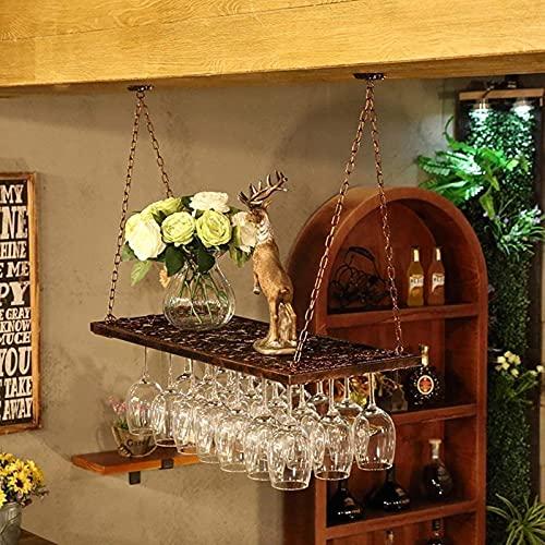 Estante para Vino Que cuelga los estantes para Copas de Vino Tinto, Montaje en el Techo, Soporte para Botellas de Vino Colgante, Estante para Copas de Vino de Metal, Montaje en Pared Negro, a, 80