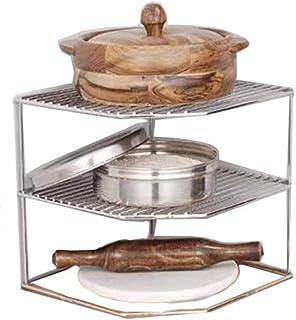 キッチン収納 キッチンコーナー コーナーラック キッチンラック  浴室用ラック 食器棚 キッチン棚 レンジ棚 小物収納  3段 鍋置き 棚 コーナー スタンド シルバー 約22×22×19cm