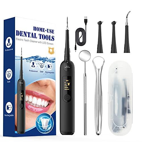 Kit Limpieza Dental, Limpieza Dental Incluir 4 cabezales de repuesto, Espejo, Raspador de lengua-Kit de Limpiador Dental de quita Obstinado Manchas Dientes