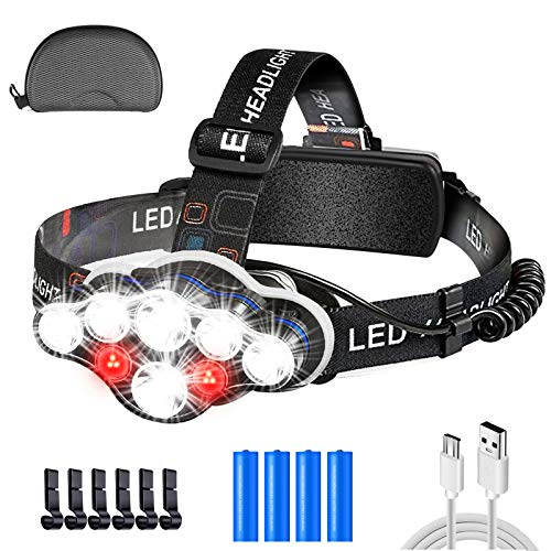 Linterna Frontal Led Recargable, Lámpara de Cabeza 18000 Lúmenes USB Led Linternas...