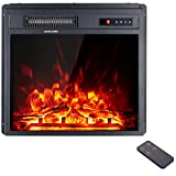 AMERLIFE 18 inches Recessed Electric Fireplace, Insert Fireplace Heater with Remote Control Realistic Flame, Log Set & Crystal 1400/750W Free-Standing Heater