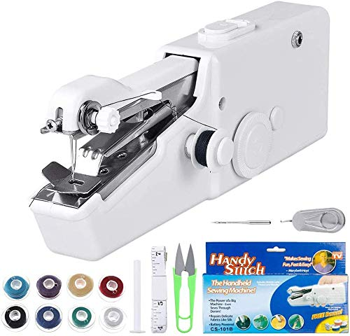 Handheld sewing machine, Portable Sewing Machine, Mini Cordless Electric Handheld Stitch Tool for Fabric, Curtains, Clothing, Kids Cloth, Home Travel DIY Use