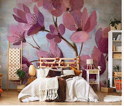 Fotomurales Papel pintado tejido no tejido Pintura al óleo fucsia flor de durazno Murales moderna Arte de la pared Decoración de Pared decorativos 350x256 cm