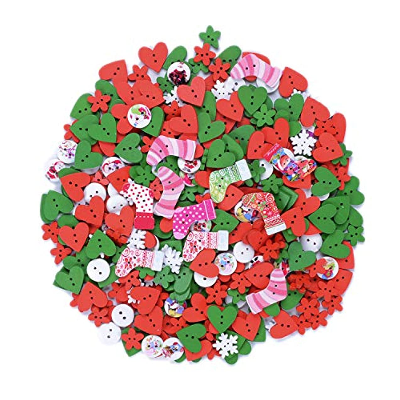 eborder 450 Pieces Christmas Wooden Buttons Colorful Craft Sewing Button for DIY Craft Supplies