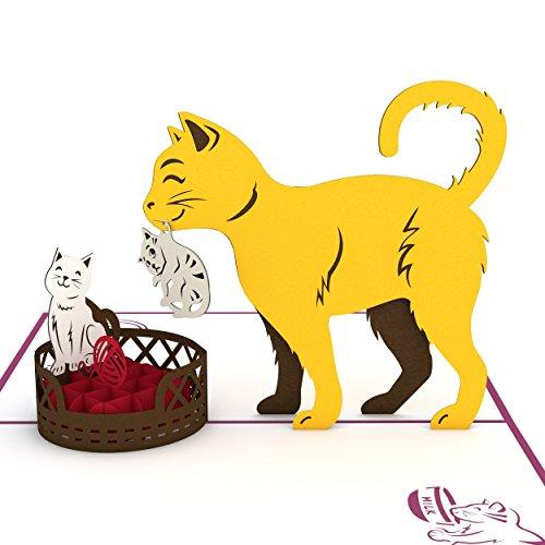 Lovepop Cat Mom Pop Up Card - 3D Card, Mother's Day Card, Animal Card, Pop Up Card, Mother's Day Greeting Card, Card for Mom, Cat Card, Kitten Card