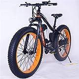 Bicicletas Eléctricas, 26' Montaña de bicicleta eléctrica de 36V 350W 10.4Ah extraíble de iones de litio Fat Tire Bike Nieve de Deportes Ciclismo Viajes Tráfico ,Bicicleta ( Color : Black Orange )