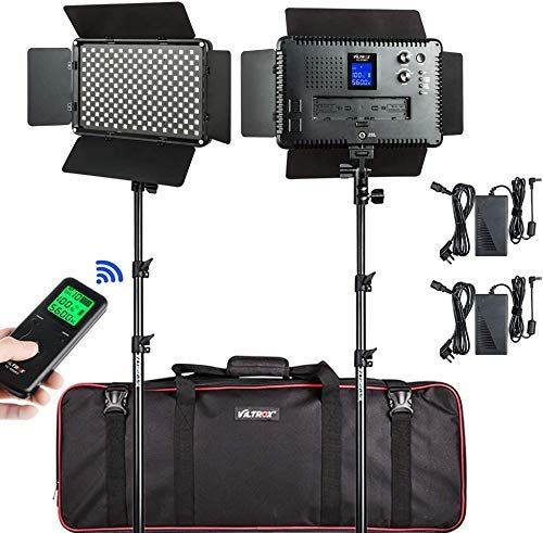 VILTROX LED Video Lighting Kit 45W/4700LM LED Video Light with Wireless Remote Bi-Color Dimmable 3300K-5600K LED Light Panel with Stand and Bag LED Light for Video Studio Photography Yutube
