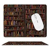 Vintage Library Bookshelf Bookcase デスクマッ ト マウスマット ゲーミングマウスパッド キーボードマット PC机 マット超大型 革 防水 滑り止め レーザー 光学式マウス ゴムファッ
