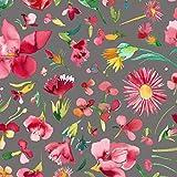 Qualitativ hochwertiger Baumwolle Canvas Stoff mit Blumen