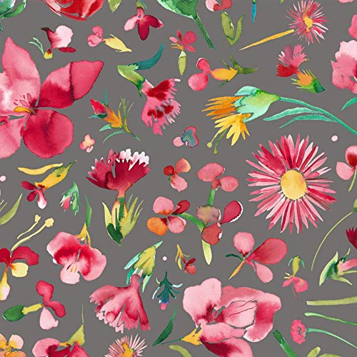Qualitativ hochwertiger Baumwolle Canvas Stoff mit Blumen auf Grau als Meterware zum Nähen von Taschen und Bekleidung, 50 cm