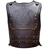 HiiFeuer Viking Warrior PU Leather Chest Armor, Retro Knight Leather Body Armor, Medieval Leather Armor for LARP/Cosplay Activities, One Size One Color Adjustable