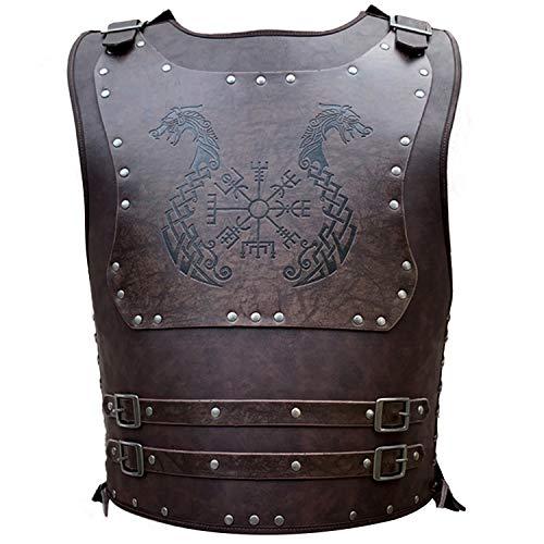 HiiFeuer Viking Warrior PU cuero pecho armadura retro caballero cuero armadura del cuerpo, armadura medieval de cuero para LARP/actividades de cosplay, talla única y color ajustable