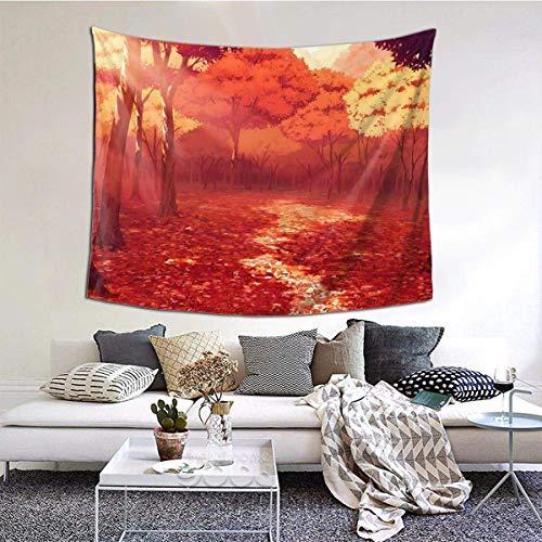 Tapiz para colgar en la pared ancha con diseño de flores, tapiz de lujo para dormitorio, sala de estar de 152 x 152 cm, árboles de otoño