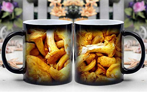 Amymami Personalized Gifts Heat Changing Magic Coffee Mug - Chanterelles Mushrooms Chantarelle Chanterelle
