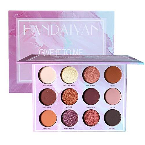 sombra de ojos de cuatro colores, con cepillo aplicador de doble extremo, maquillaje de ojos suave de color duradero, adecuado para el día y la noche