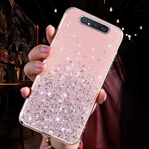 Uposao Kompatibel mit Samsung Galaxy A80 / A90 Hülle Glänzend Glitzer Strass Diamant Sterne Transparent TPU Silikon Handyhülle Weiche Dünn Durchsichtig Schutzhülle Tasche Crystal Case,Rosa